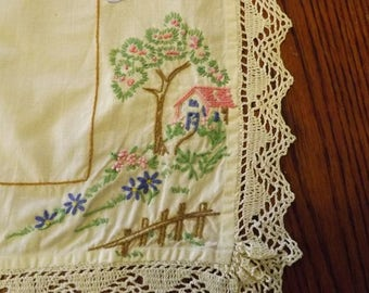 Vintage Hand Embroidered Dresser Scarf With Cottage Scene