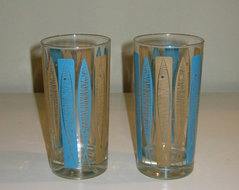 Pair of Fabulous Fifties Tumblers, Fish Design, 12 oz Size