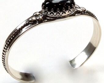 Silver cuff, onyx cuff, statement bracelet, unique bracelet, statement cuff, gemstone bracelet, casual simple cuff - Deep black B3006S-1