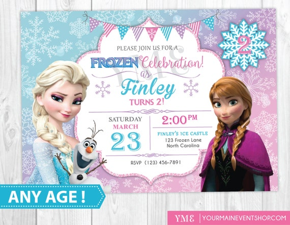 Frozen Birthday Invitation Printable, Frozen Invitation, Frozen Birthday Party Invites, Winter Invitation, Snowflake Invitation