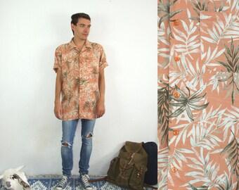 90's vintage men's orange palm patterned boho shirt