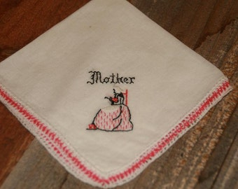 Vintage White Hankie Handkerchief  Embroidered  Pink  Mother Design Cotton Vintage Hankie