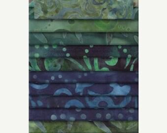 """20 % off thru 5/31 Moody Blues-WILMINGTON BATIKS JEWELS """"Jelly Roll"""" fabric 24 2.5 inch strips blue green aqua batik"""