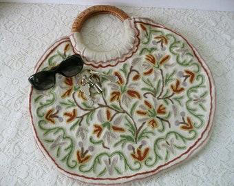 Pretty Vintage Bohemian Crewel Work Handbag With Wicker Handle From India
