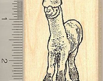 Cute Alpaca Rubber Stamp Wood Mounted J7702 stamps