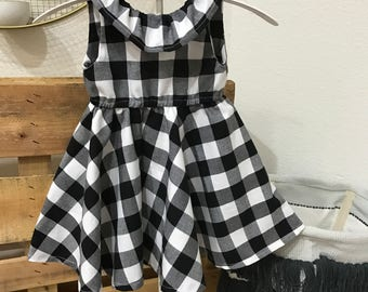 Black and White Gingham Twirling Dress