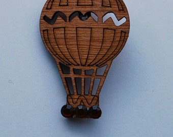 New steampunk air balloon brown medal brooch pin with crystals