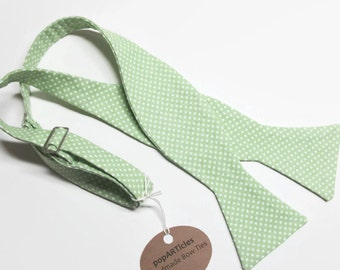 Freestyle Green Bow Tie - Polka Dot Bow Tie - Handmade Men's Bow Tie - Self-Tie Bow Tie in Apple Green and White