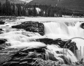 Waterfall, British Columbia, Canada, Black and White Photographic Print