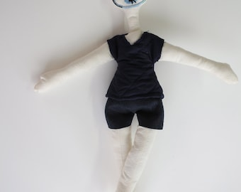 Cloth doll, girl or boy toy, cloth doll, embroidered face character, collection, artistic, handmade