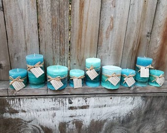 Yacht Salt Scented Pillar Candles - SALE PRICED (Overstock)