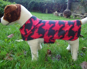 Dog Jacket - Black and Red Houndstooth Fleece Dog Coat- Size Small- 12-14 Inch Back Length