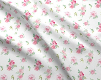Pink Watercolor Roses Fabric - Pink Watercolor Roses By Peachandhoney - Watercolor Floral Flowers Cotton Fabric By The Yard With Spoonflower