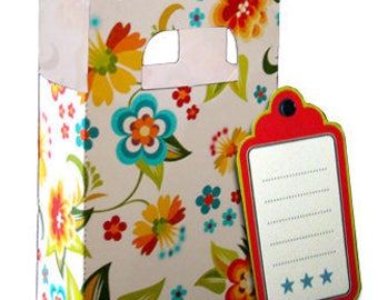 6 Downloadable Floral Gift Bags - PDF File with Printable Templates