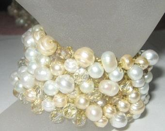 CHUNKY Pearl Crystal Wedding Cuff Bracelet, Freshwater Ivory, White, Champagne, Gold, Hand Knit, Sereba Designs