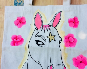 Horse Market Tote Hand Painted