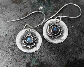 Labradorite Twisted Gypsy Disc Earrings. Handmade Sterling Silver Hammered Rustic Earrings. Oxidized Earrings.