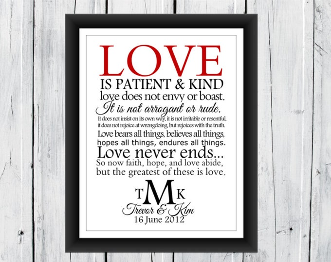 Wedding Print  1 Corinthians Monogram Print