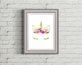 Gold Unicorn Flower Crown Nursery Girls Room Printable Wall Art Decor Baby Shower Lashes Poster Nursery Decor Kid Room Pink INSTANT DOWNLOAD