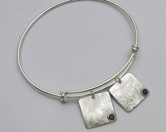 Silver Square Fingerprint with Birthstone Charm Bangle Bracelet, Fingerprint Jewelry, Birthstone Jewelry, Fingerprint and Birthstone