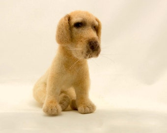 Needle Felted Dog Retriever Yellow Labrador Free Shipping Gift Collectible