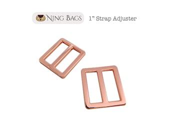 """Set of 6 // 1"""" Strap Adjuster, Squared Edges Strap Slider, Rectangular Strap Ring in Rose Gold Finish"""