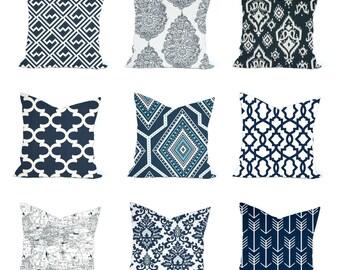 One Navy Blue pillow cover, Home decor, decorative pillow, throw pillow, nautical pillow, Home decor, Navy Pillow