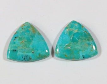 1 Pair Turquoise Mohave Cabochon, Natural Turquoise Mohave Gemstone, Trillion Approx 16x16 mm, Beautiful Earring Use Pair Cabochon #TM634