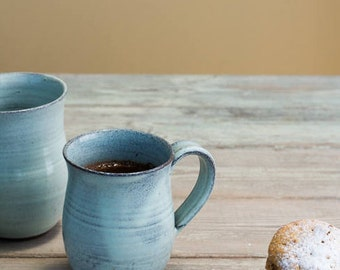 Ceramic mug, Light blue mug, Unique pottery mug, Ceramic cup handmade, Coffee lovers gift, Pottery tea cup, Gift for her, Mother's day gift