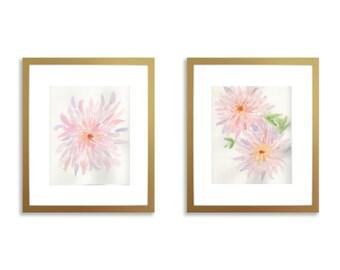 Set of two prints, nursery wall art set of two, watercolor flowers, nursery flower art, watercolor dahlia, girl nursery art, girl nursery