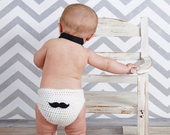 Dapper Dude Diaper Cover - Mustache Diaper Cover for the Jaunty Junior Set - Great for Birthdays/Photographs/Photo Prop/Everyday Fun