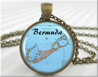 Bermuda Map Pendant, Resin Charm, Bermuda Island Map Necklace, Gift Under 20, Round Bronze, Travel Gift, Picture Pendant 678RB