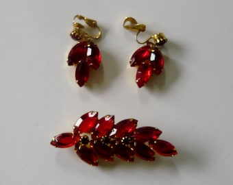 Vintage Red Rhinestone Leaf Brooch Pin and Earrings with Goldtone Setting