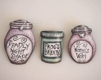Potion Bottles - Set of Three - A Nightmare Before Christmas - Laser Cut Wood Brooches Set of Three