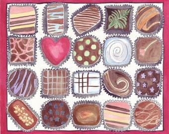 8x10 Print Watercolor Painting - Box of Chocolates Watercolor Art Print - 8x10 Illustration - Candy Series no. 3
