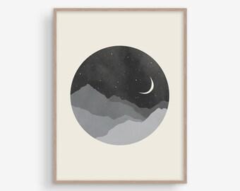 Moon Mountain impression noir et blanc, chambre mur scandinave, grande impression d'Art, Mid Century Art, Art moderne salon, Nordic Print