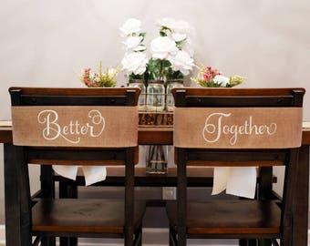 Wedding Chair Signs, Bride and Groom Wedding Chair Signs, Rustic Wedding Decor Ideas, Sweetheart Table Decor Ideas, Chair Signs, 539502023