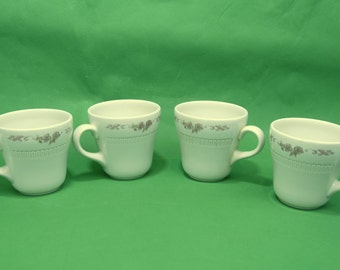 "Vtg Syracuse China Coffee Mugs ""Montlynn"" Pattern Restaurant Ware Pink Floral Inner Ribs Lot of Four Made In USA"
