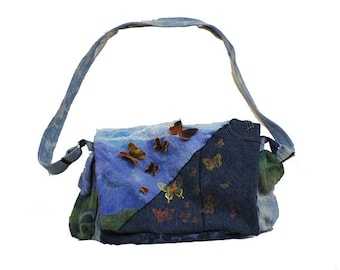 Felted and Denim Crossbody Purse