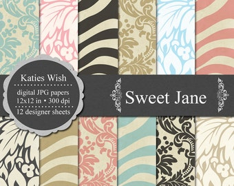 Sweet Jane Digital Paper Kit N067 12x12 inch 300 dpi jpgs for Commercial Use