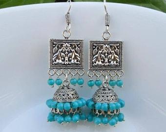 Unique Jhumka Earrings-Sky Blue Glass Beads Earrings-Indian Gift Jewelry-Ethnic Tribal Earrings-Gemstone Jewelry-Bollywood Jhumka Earrings-5