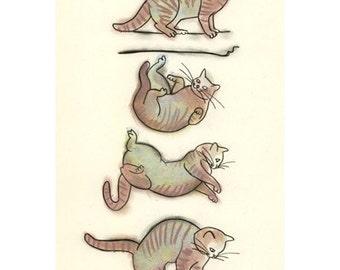 Cat print Cat Decor (print) 4 for 3 SALE  Flying Kitten -  4 X 6 cat art print