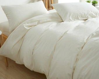 Soft White Cotton Duvet Cover,Off White Duvet Cover, Pima Cotton 300TC  Sateen Weave