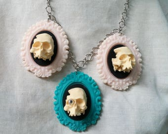 Sugar Skull Jewelry Skull And Pastel Cameo Necklace by Ugly Shyla OOAK - Handmade Jewelry -Creep Cute - Skull Necklace - Gothic Cameo
