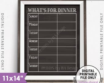 "What's for Dinner Menu Sign, Dinner Kitchen Sign, Daily Dinner Sign, Daily Menu Board, 11x14"" Chalkboard Style PRINTABLE Instant Download"