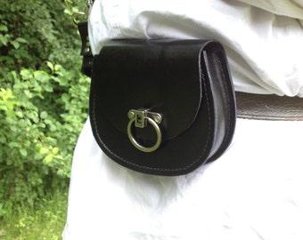 Handmade Black Leather Belt Pouch