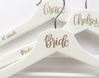 Hand Lettered Bridesmaid Hanger - Calligraphy Wedding Hangers - Wedding Hangers - Bridesmaid Gift - Bridesmaid Hangers - Wedding Gown Hanger
