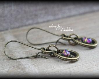 Antique Bronze Infinity gemstone earrings with aura quartz beads