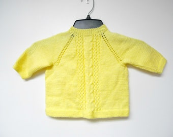 vintage yellow knitted baby sweater . fits like 9 - 12 months