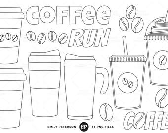 50% OFF SALE! Coffee Digital Stamps, Travel Mug Line Art, Coffee Addict Clip Art - Commercial Use, Instant Download
